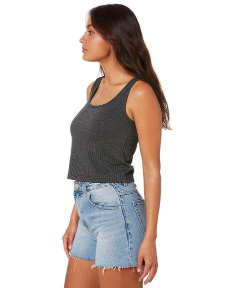 BLACK WOMENS CLOTHING RUSTY SINGLETS - TSL0585BLK