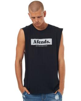 BLACK MENS CLOTHING AFENDS SINGLETS - 01-05-112BLK