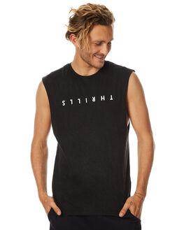 FADED BLACK MENS CLOTHING THRILLS SINGLETS - TH7-104FBFBLK