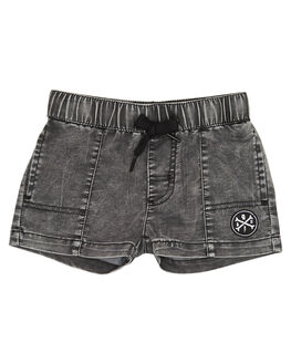 ACID WASH BLACK KIDS TODDLER BOYS ALPHABET SOUP SHORTS - AS-KBC8221ADWSH