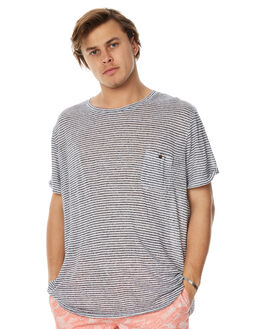 WHITE NAVY MENS CLOTHING ACADEMY BRAND TEES - 18S408WNVY