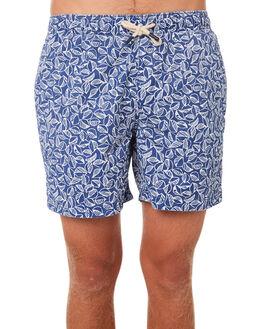 BLUE WHITE MENS CLOTHING ACADEMY BRAND BOARDSHORTS - 19S707BLWH