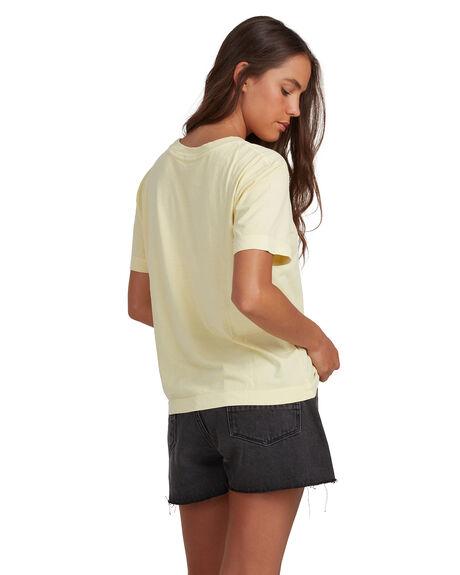 PASTEL YELLOW WOMENS CLOTHING QUIKSILVER TEES - EQWZT03025-YDJ0