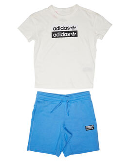 WHITE BLUE KIDS BOYS ADIDAS TOPS - ED7788WHTBL