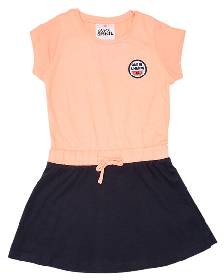 NEON CORAL NAVY KIDS GIRLS EVES SISTER DRESSES + PLAYSUITS - 8021015PEAC