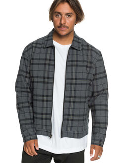 BLACK GRAND CHECK MENS CLOTHING QUIKSILVER JACKETS - EQYJK03558-KVJ1