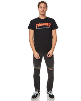 BLACK MENS CLOTHING THRASHER TEES - 311178BLK