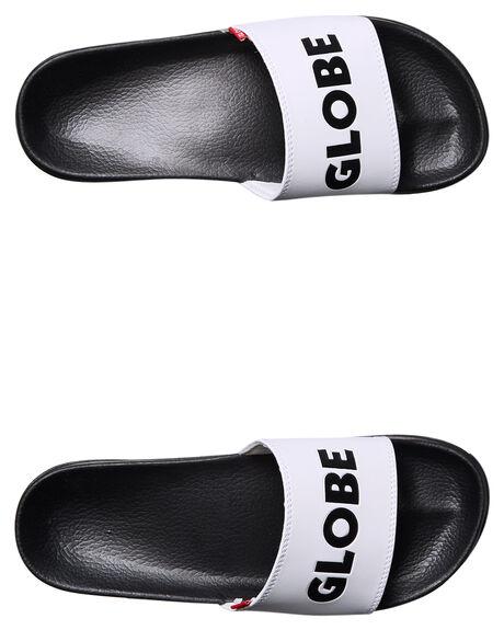 WHITE BLACK MENS FOOTWEAR GLOBE SLIDES - GBUNFAZEDWHBK