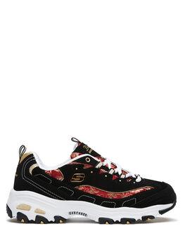 BLACK RED WOMENS FOOTWEAR SKECHERS SNEAKERS - 13091BKRD