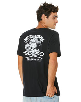 BLACK MENS CLOTHING SEA SHEPHERD TEES - SSA1003BLK