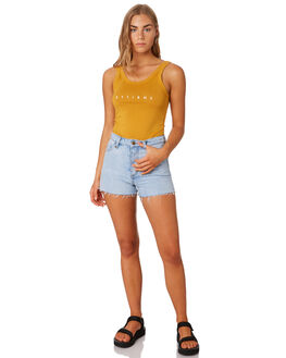 SUNLIGHT YELLOW WOMENS CLOTHING THRILLS SINGLETS - WTS9-101KSYEL