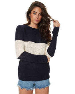 NAVY AND CREAM WOMENS CLOTHING THE FIFTH LABEL KNITS + CARDIGANS - TC170401KNVCR