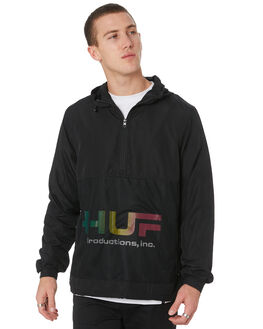 BLACK MENS CLOTHING HUF JACKETS - JK00147-BLK