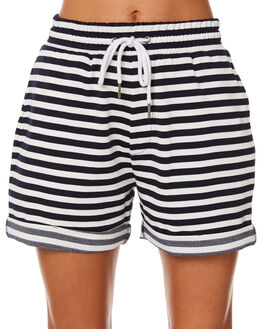 WHITE NAVY STRIPE WOMENS CLOTHING SILENT THEORY SHORTS - 6022012STR