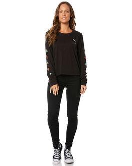 BLACK WOMENS CLOTHING HURLEY TEES - AJ3619010
