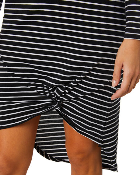 BLACK WHITE STRIPE WOMENS CLOTHING SILENT THEORY DRESSES - 6015011STR2