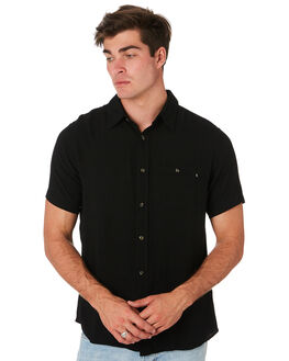 BLACK MENS CLOTHING RUSTY SHIRTS - WSM0834BLK