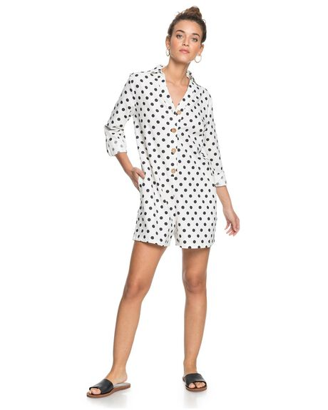 SNOW WHITE DOTSY WOMENS CLOTHING ROXY PLAYSUITS + OVERALLS - ERJWD03501-WBK6