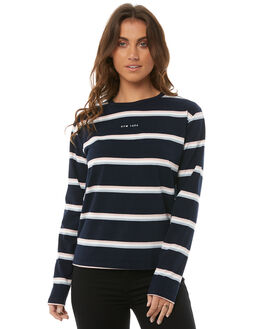 NAVY STRIPE WOMENS CLOTHING RPM TEES - 8AWTO7ANAVYS