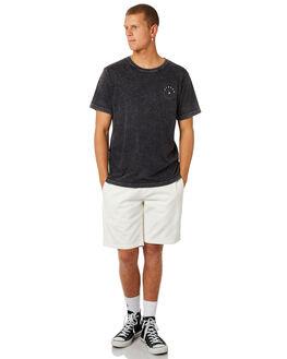 BLACK ACID WASH MENS CLOTHING AFENDS TEES - M184008BLKAC