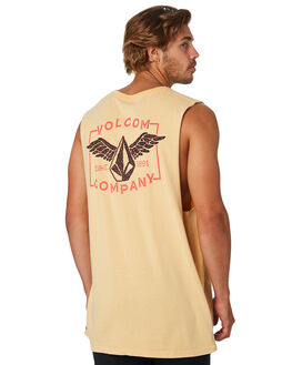 HONEY GOLD MENS CLOTHING VOLCOM SINGLETS - A3741971HGD