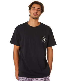 BLACK MENS CLOTHING RVCA TEES - R193044BLK