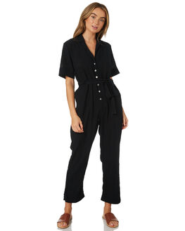 FADED BLACK WOMENS CLOTHING LILYA PLAYSUITS + OVERALLS - CGJS72-LAW19FBLK