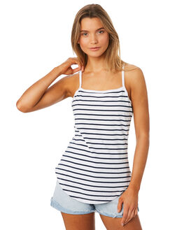 NAVY WHITE STRIPE WOMENS CLOTHING SWELL SINGLETS - S8174271NWS
