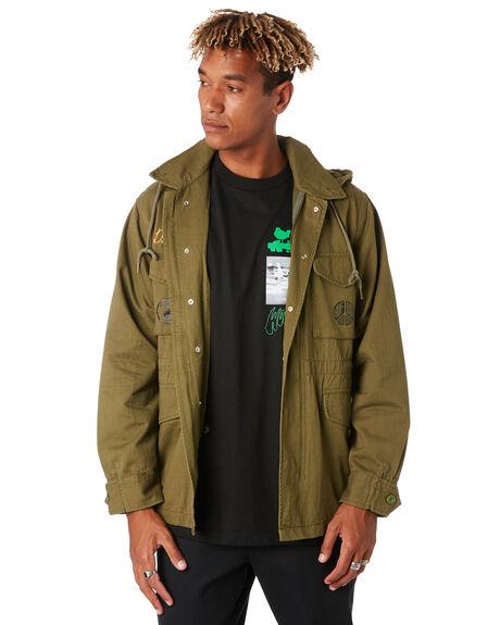 OLIVE MENS CLOTHING HUF JACKETS - JK00208OLIVE