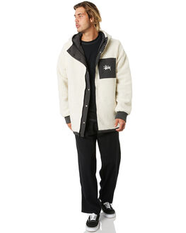 BLACK CREAM MENS CLOTHING STUSSY JACKETS - ST006509BLKCM