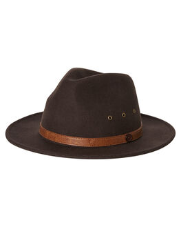 DARK BROWN MENS ACCESSORIES BILLY BONES CLUB HEADWEAR - BBCFED003DBRN