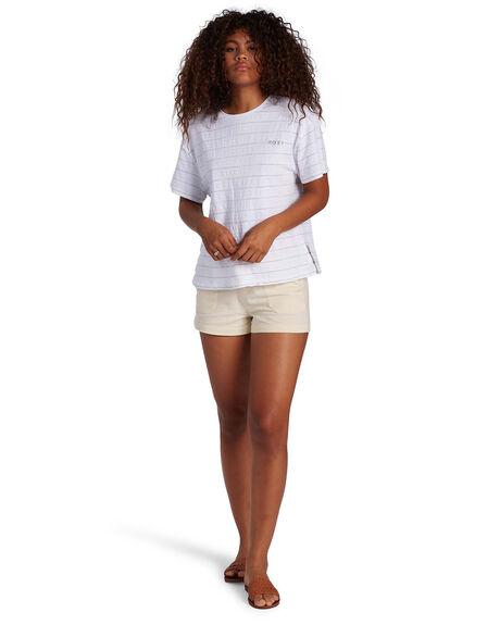 SNOW WHITE BEACHY ST WOMENS CLOTHING ROXY TEES - ARJZT06491-WBK3