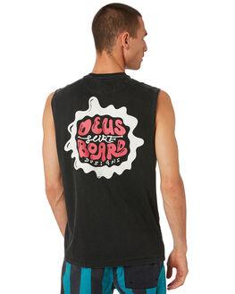 BLACK MENS CLOTHING DEUS EX MACHINA SINGLETS - DMS91315BLK