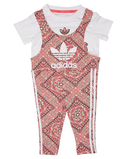WHITE MULTICOLOUR KIDS TODDLER GIRLS ADIDAS PLAYSUITS + OVERALLS - CE4384WTMLT