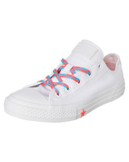 WHITE KIDS GIRLS CONVERSE SNEAKERS - 364189CWHT