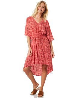 RED WOMENS CLOTHING TROUBLE LOVES COMPANY DRESSES - T8188442RED