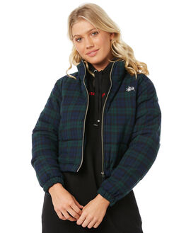 GREEN CHECK WOMENS CLOTHING STUSSY JACKETS - ST185715GREC