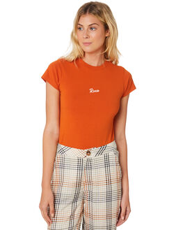 ORANGE RUST WOMENS CLOTHING RVCA TEES - R293694ORA