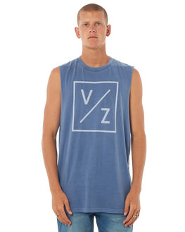 DUSTY BLUE ACID MENS CLOTHING VONZIPPER SINGLETS - 3972502DBA