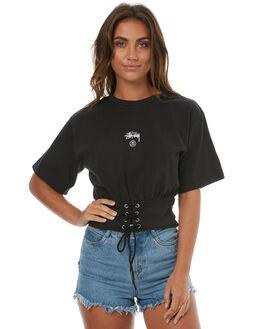 BLACK WOMENS CLOTHING STUSSY TEES - ST173108BLK