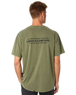 ARMY GREEN MENS CLOTHING THRILLS TEES - TS8-125FARGRN