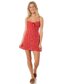RED WOMENS CLOTHING TROUBLE LOVES COMPANY DRESSES - T8188445RED