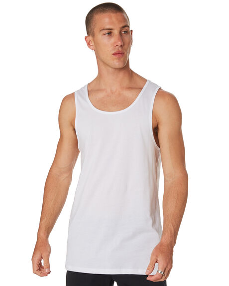 WHITE MENS CLOTHING AS COLOUR SINGLETS - 5007WHT