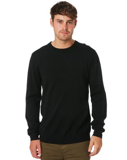 BLACK MENS CLOTHING ACADEMY BRAND KNITS + CARDIGANS - 19W440BLK