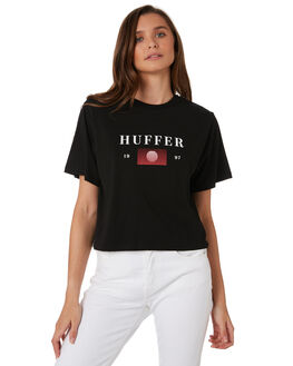 BLACK WOMENS CLOTHING HUFFER TEES - WTE92S72-405BLK