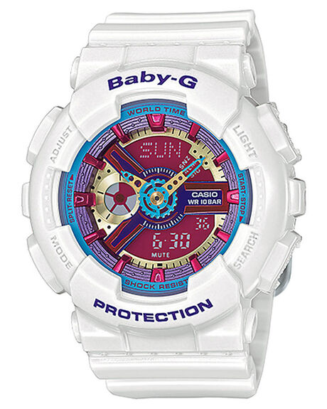 WHITE BLUE PINK MENS ACCESSORIES BABY G WATCHES - BA112-7AWHBP