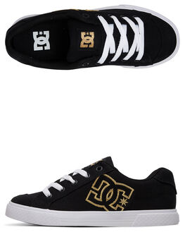 BLACK/GOLD WOMENS FOOTWEAR DC SHOES SNEAKERS - 303226-BG3