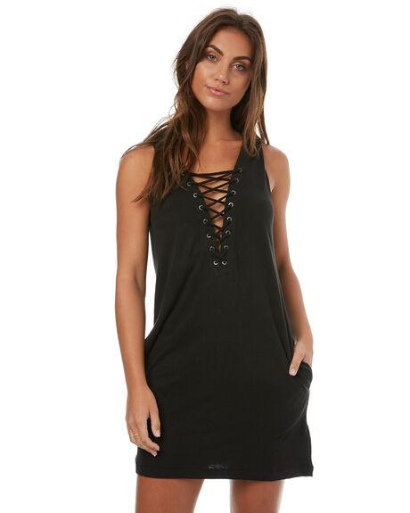 BLACK WOMENS CLOTHING RUSTY DRESSES - DRL0881BLK