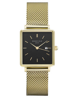 BLACK MESH GOLD WOMENS ACCESSORIES ROSEFIELD WATCHES - QBMG-Q06BKMGD