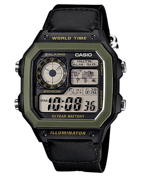 OLIVE BLACK BAND MENS ACCESSORIES CASIO WATCHES - AE1200WHB-1BOLVBL
